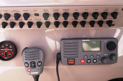 VHF Radio with Circuit Breakers   click image to enlarge