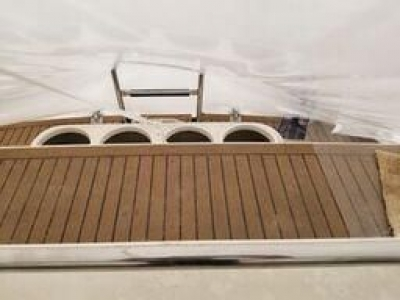 Teak Swim Platform with Fender Storage   click image to enlarge