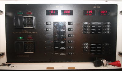 120/240 Volt AC Panel in Cabin   click image to enlarge
